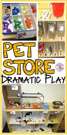Pet Store Dramatic Play How to set up a pet store in your dramatic play center (with tons of math and literacy learning opportunities) Dramatic Play Themes, Dramatic Play Area, Dramatic Play Centers, Preschool Centers, Preschool Classroom, Classroom Activities, Family Activities, Learning Activities, Childcare Activities