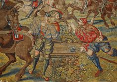 Orley,Bernaert (1492-1542) Seven large tapestries illustrate the Battle of Pavia in 1525,in which Emperor Charles V.defeated French King Francois I.  A soldier,holding an officer's horse, tells the good news of the King's capture to a comrade.