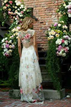 pretty floral wedding dress