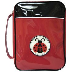 Lady Bug Bible Cover  A cute vinyl Bible cover in black and red with a rubber ladybug medallion. Fits Bibles up to 10.5 x 7.5 x 2.