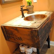 My husband and I turned a salvaged wall cabinet into a vanity for our… :: Hometalk