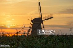 Foto de stock : Kinderdijk. Silhouette of a Windmill at sunset. The Netherlands
