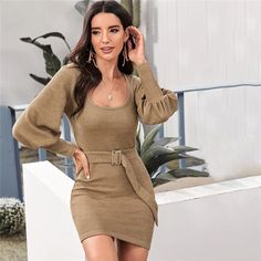 SHEIN Scoop Neck Ribbed Knit Solid Pencil Sweater Dress With Belt Women Autumn Streetwear Bishop Sleeve Bodycon Elegant Dresses High Street Fashion, Fall Collection, Dress Collection, Streetwear Mode, Streetwear Fashion, Bodycon Outfits, Bodycon Dress, Winter Sweater Dresses, Thanksgiving Fashion