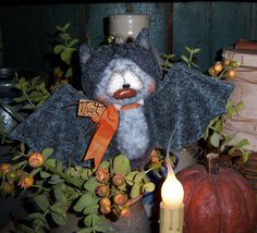 "Primitive Halloween Black Vampire Bat Bear 5"" Doll Vtg Patti's Ratties Ornie"