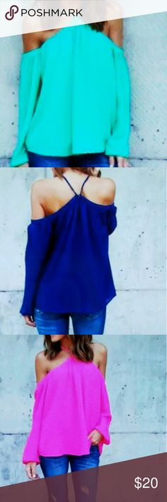 Woman's off shoulder top Long sleeve shirt casual blouse loose T- shirt. I have one and green and one in hot pink Tops Blouses