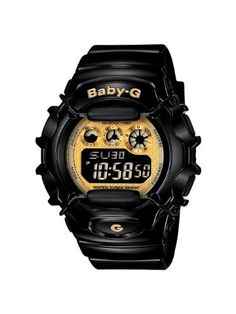 Casio Women's BG1006SA-1C Baby-G Shock Resistant Black and Yellow Multi-Function Watch Casio. $69.50. 1/100 second stopwatch; 12/24 hour formats. EL Backlight; World time (29 time zone and 48 cities); Countdown timer. Water-resistant to 330 feet (100 M). Baby-G shock resistant black resin strap and yellow dial frame. 4 daily alarms; 1 snooze alarm. Save 12%!