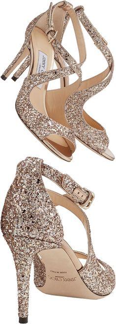 Jimmy Choo EMILY 85 Ballet Pink Shadow Coarse Glitter Fabric Sandals  #shoes #pumps #heels #afflink #jimmychoo #gold #glitter