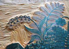 Paul Roden & Valerie Lueth, Tugboat Printshop ~ Detail of blue block for Log ~ Woodcut