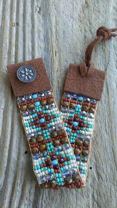 Bead loomed bracelets bead woven bracelets Bohemian Southwestern Native American  Japanese seed bead Czech glass hand loomed bracelets