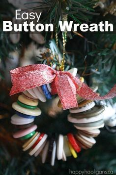 A button wreath is easy to make and looks so beautiful. It's the perfect Christmas craft for little ones and helps to develop fine motor skills. More Crafts Button Wreath Christmas Tree Ornament - Happy Hooligans Diy Christmas Ornaments, Christmas Art, Christmas Projects, Christmas Holidays, Christmas Wreaths, Button Ornaments Diy, Christmas Ideas, Kids Holidays, Crafts With Buttons
