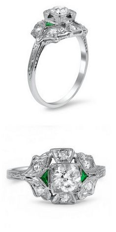 The Vasha Ring - Love the emerald accents!