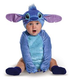 Stitch Plush Costume from the Disney movie Lilo & Stitch. This adorable Stitch costume features ultra-soft plush fabric, a removable character headpiece and print detail on the back. Perfect for the little mischeivous one in your ohana. #DisneyHalloween