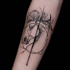 Absolutely amazing work by @rirchardblackstar, beautiful horse tattoo.. #horse #horsetattoo #graphictattoo #sketchtattoo #blackwork #alchemy #geometrictattoo #geometry