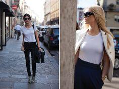 white shirt, black jeans, snakeskin // white shirt, navy skirt, khaki jacket