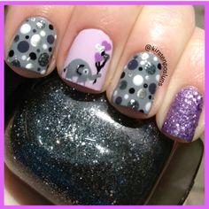 Like the colors, glitter and polka dots ... don't like the elephant