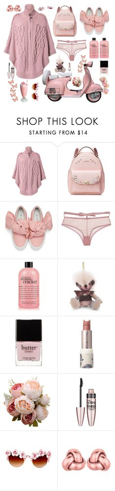 """Bubblegum Pink"" by alongcametwiggy ❤ liked on Polyvore featuring ESCADA, Joshua's, Fleur du Mal, philosophy, Burberry, Butter London, Paul & Joe, Maybelline, Gasoline Glamour and BillyTheTree"