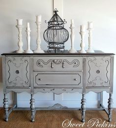 Antique Buffet Refinished In Annie Sloan Graphite Chalk Paint Annie Sloan Chalk Paint Grey, Annie Sloan Chalk Paint Versailles, Gray Chalk Paint, Chalk Paint Furniture, Furniture Projects, Diy Furniture, Chalk Painting, Country Furniture, Refurbished Furniture