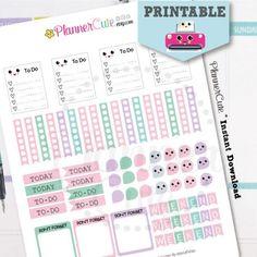 Basic Kawaii Planner Stickers,  Kawaii Printable Planner Stickers, Basic Pink and Purple Set, Erin Condren, Kawaii Planner Stickers K027