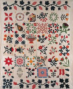 Mrs. Eldad Miller (1805–1874) and others  Cross River, New York  1861  Cotton and silk with wool embroidery  90 x 75 in.  American Folk Art Museum