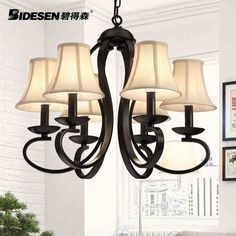 229.50$  Watch now - http://alie1m.worldwells.pw/go.php?t=32636760262 - American Countryside 6 Head Black / White Wrought Iron Pendant Light Cloth Art Foyer Light Hotel Lamp D500MM  Free Shipping