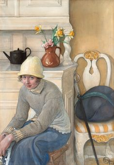 Carl Larsson, Girl with ice skates, interior from the school household, Falun.  Signed C.L. and dated 1917. Watercolour on paper mounted on canvas 75 x 52.5 cm.