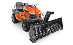 """Husqvarna 50"""" snow thrower attachment with electric lift via one-button operation. Features a two-stage snow head with powerful 11"""" diameter fan and Hydro Gear heavy duty gear box. Attachment and removal is tool-free after initial bracket installation."""