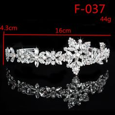F037 Delicate Wedding Party Children Flower Girl Crystal Rhinestones Crown Headband Tiara (Silver)