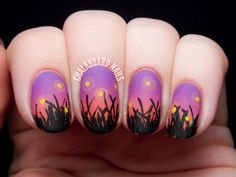 Check out this amazing sunset themed gradient nail art with grass blade and firefly details.