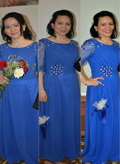 Ocean Blue Scoop Neck Chiffon Mother of the Bride Dress