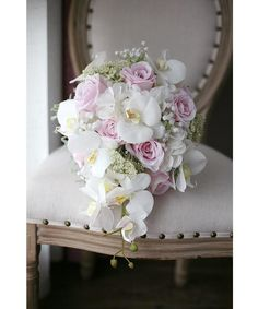 Cascading Blush Pink Wedding Bouquet Mondainé Bridal Studio Vintage Pink Bridal Bouquet Waterfall Artificial Phalaenopsis Wedding Flowers Bouquets For Brides Cascading Bridal Bouquets, Bridal Bouquet Pink, Silk Flower Bouquets, Bridesmaid Flowers, Bride Bouquets, Flower Bouquet Wedding, Artificial Wedding Bouquets, Bridal Gown, Vintage Wedding Flowers