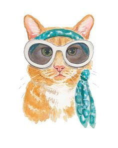 Orange Tabby Watercolour - Illustration PRINT, 5x7 Cat Watercolor, Cat in Sunglasses, Summer Style
