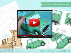 This Green Retro Car printable cupcake and treat box kit comes with TWO removable cupcake trays - one for standard cupcakes and one for mini cupcakes. Can also be used as a cookie, candy, gift box, party centerpiece, favor box, paper toy too!  VIDEO TUTORIAL: learn how to assemble this kit before you buy! watch a video here: tinyurl.com/retrocarkit  Its easy to customize the banner and license plates with your own text! Just open in Adobe Reader and type in the provided text boxes, no sp...