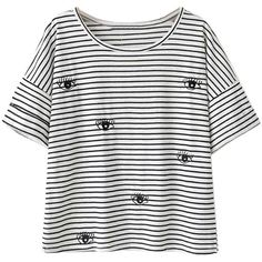 Black And White Stripe Eye Pattern Short Sleeve T-shirt ($20) ❤ liked on Polyvore featuring tops, t-shirts, print tees, striped tee, cotton tee, round top and striped t shirt