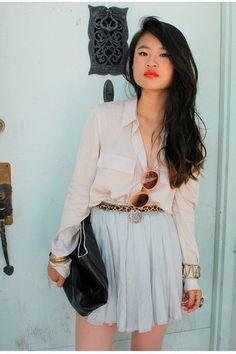 black clutch vintage bag - peach hm sunglasses - ivory theory blouse