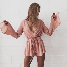 $23 Maykool Light Dusty Rose Pink Ruffle Tied Waist Flare Sleeve Chic Romper Perfect For Summer Vibes Festival Beach Chick Tumblr