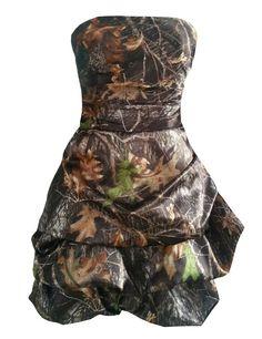 Gardenia Short Camo Prom Dress Strapless Ruffles Skirt Camouflage Homecoming Gown (24W)