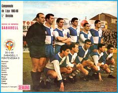 CD Sabadell of Spain team group in Image Foot, Football Kits, Animal Crossing, Soccer, Baseball Cards, 1960s, Retro, Group, Country