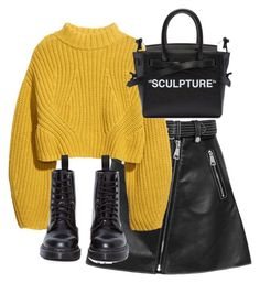 """Untitled #4748"" by theeuropeancloset on Polyvore featuring Maje, H&M, Dr. Martens and Off-White"