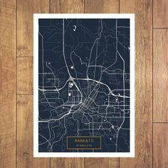 MANKATO Minnesota City Map Mankato Minnesota Art by JackTravelMap