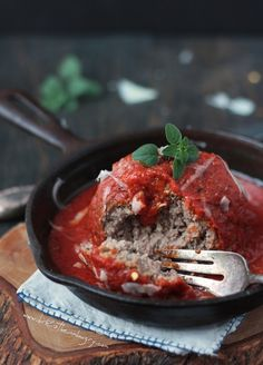 Giant Italian Meatball Recipe that is Low carb and gluten free by ibreatheimhungry.com!!!