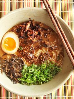 Homemade miso ramen with crispy pork, black garlic chili oil, ajitsuke tamago…