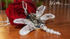OOAK white dragonfly steampunk necklace by ILiNidesigns on Etsy