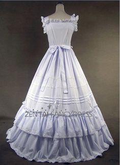 Amazing Double Layer Puff Hem Sleeveless White Gothic Victorian Dress Round  Neck Lolita Dress ae6f4a22d845