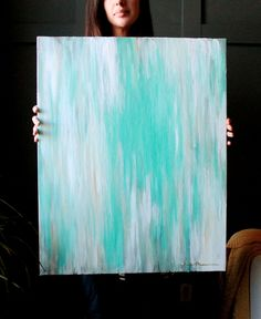 """24""""x30"""" Abstract, Tiffanys Blue, White and Champagne, Ikat-Inspired, Original Painting. $125.00, via Etsy."""