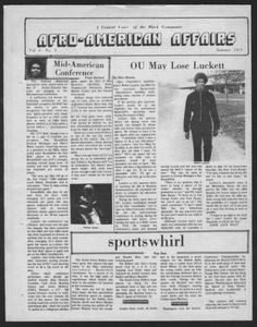 """Afro-American affairs (Athens, Ohio), Summer 1975. """"Mid-American Conference."""" """"The National Basketball Association draft, which starts on May 29 should illustrate that times are changing in the Mid-American Conference."""" :: Ohio University Student Newspapers"""