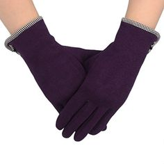 Flammi Women Screen Touch Gloves Warm Lined Fall/Winter Cycling Gloves with Decorative Small Bow, Pair (Purple) >>> See this great product.