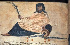 Caroline miniscule in the shape of Eridanus | Harley 647 f. 10v Aratea with Hyginus Astronomica | 9th C France