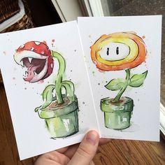 Fire Flower Watercolor Art Print Geek Videogame by OlechkaDesign