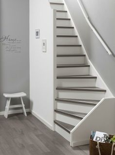 Tile Stairs, Basement Stairs, House Stairs, Closet Storage Systems, Stair Storage, Narrow Staircase, Staircase Design, Amsterdam Apartment, Interior Railings