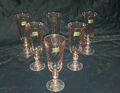 6 Cristal D'Arques Durand French Rosaline Pink Swirl Champagne Flutes Luminarc #luminarc